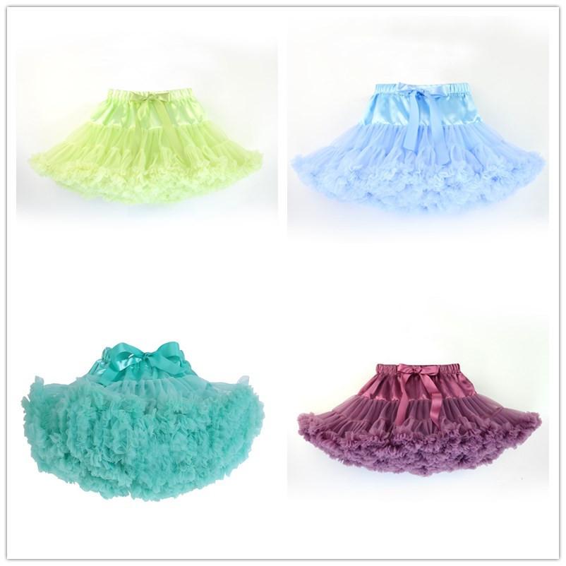 2015 New baby toddler kids girl Aqua blue chiffon fluffy pettiskirt tutu Princess skirt dance wear party skirt 9Mo- 8 Ys(China (Mainland))