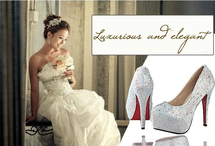 Women Pumps Large Size 34-42 White Silver Blue Black 9 Colors Sexy Prom Rhinestone Red Bottom High Heels Women's Wedding Shoes