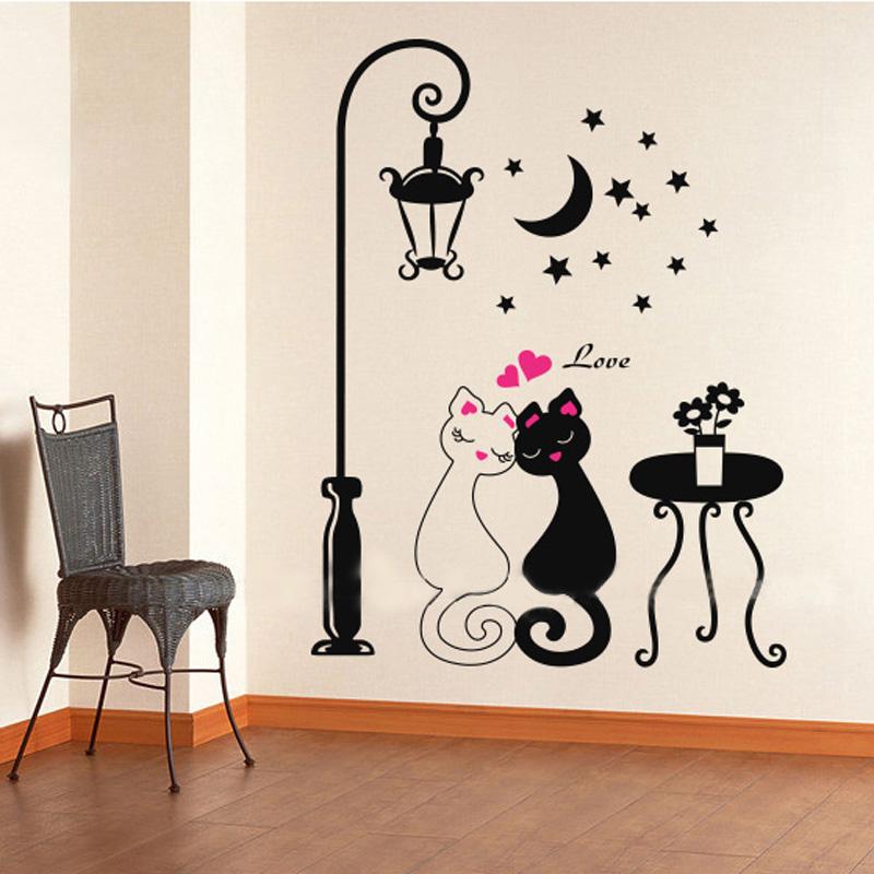 2016 Cut Black Couple Cat wall sticker home decor adesivo de parede home decoration wallpaper wall sticker Living room decor(China (Mainland))