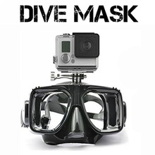 1 piece gopro diving mask soft liquid silicon scuba diving mask with clear tempered glass top snorkel mask for adult diving(China (Mainland))