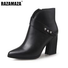 Buy Women Pointed Toe Genuine Leather Half Short Boots Woman Fashion Square Heels Botas Woman Autumn Winter Shoes Size 33-40 for $55.82 in AliExpress store