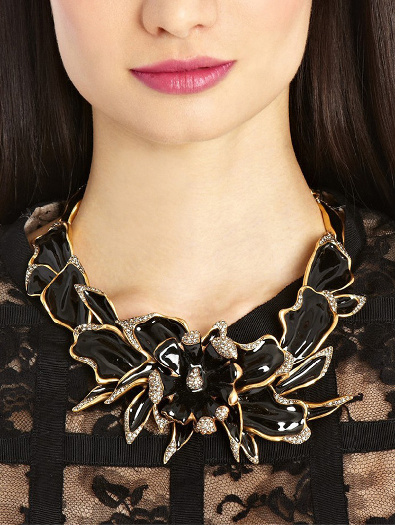 N00218 2016 fashion vintage jewelry Exaggerated Flower Big necklace statement choker item women - Today company store