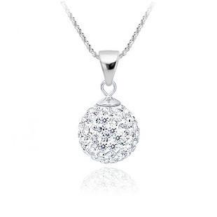 Shamballa Jewelry Pendant Necklaces, White New Shamballa Necklaces Micro Pave CZ Disco Ball Beads, Shamballa Necklaces SHNE002(China (Mainland))