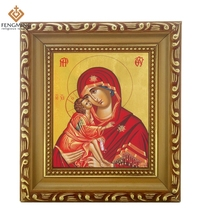 Discounte Orthodox Church Supply lcon of virgin mary and jesus baby wood photo Frame Byzantine Art religious crafts home decor(China (Mainland))