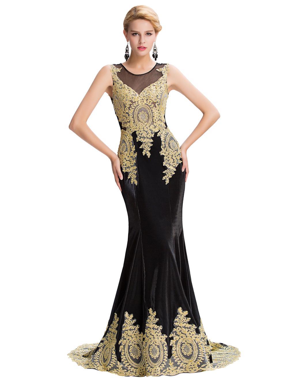 Grace Karin Black Sexy See Through Mermaid Evening Dress Gold Dress Long Arabic Prom Dress