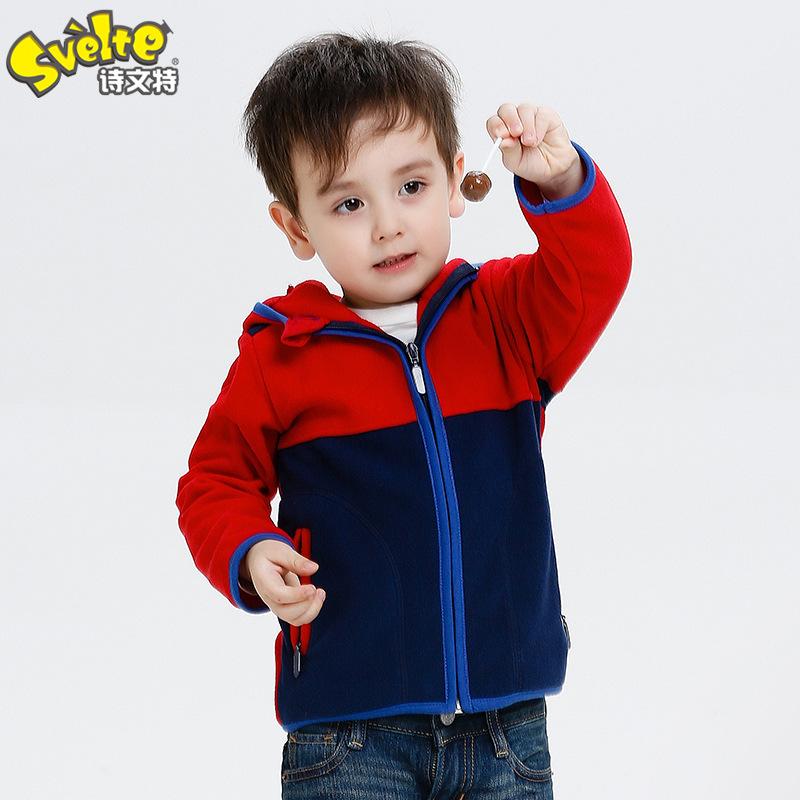 2016 Autumn New Boys Cardigan Jacket Child Double-Sided Wear Patchwork Fleece Jacket Sweater Kids Cardigan Outwear Warm Coat(China (Mainland))