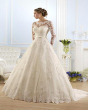 Vestido De Noiva 2016 Long Sleeves Appliques See Through Wedding Dresses Wedding Gown Bridal Dresses Bridal Gown(China (Mainland))