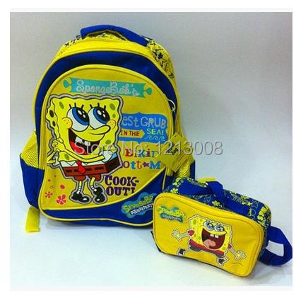 New Spongebob Bag Set, School Bags, bob esponja shoulder bag, sponge bob children's backpack sac,mochilas school kids school bag(China (Mainland))