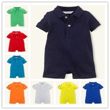 Retail 2014 new style summer baby boys girls cotton soft short sleeve rompers brand POLO fashion infant casual jumpers overalls(China (Mainland))