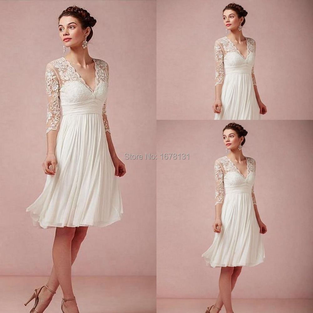 New style 2015 real images white short 3 4 sleeve lace and for Knee length wedding dresses with sleeves