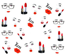 2014 New Water Transfer Nail Art Stickers Decal Sexy Red Lips Beauty Lipsticks Design DIY French Manicure Foil Stamp Tools