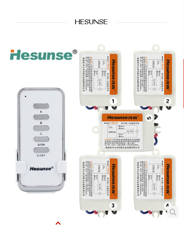 Y-F211A1N5 Hesunse 220V 315mhz Five Ways Wireless Digital Remote control Switch with Remote Control Disconnect Switch 110V(China (Mainland))