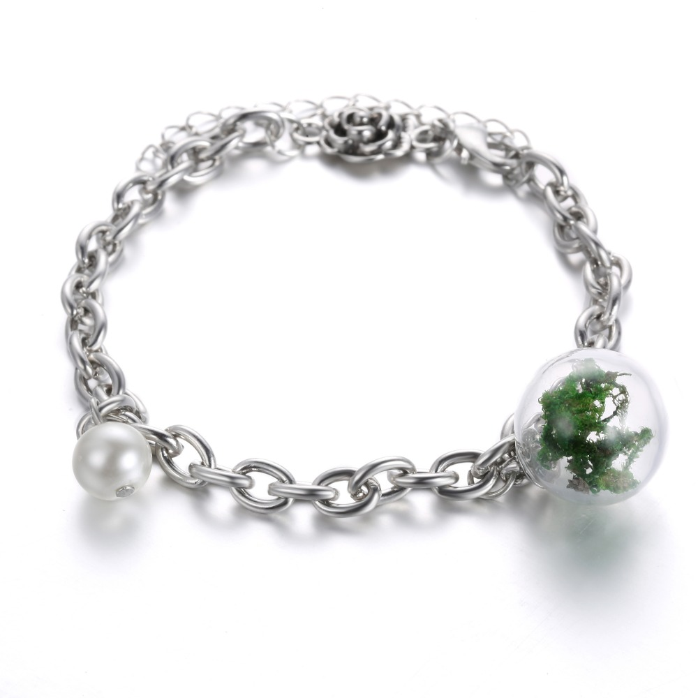 Green Botanical Bracelet Glass Bottle with Simulated pearl Bangle Bracelets for Girlfriend valentines day best gift(China (Mainland))