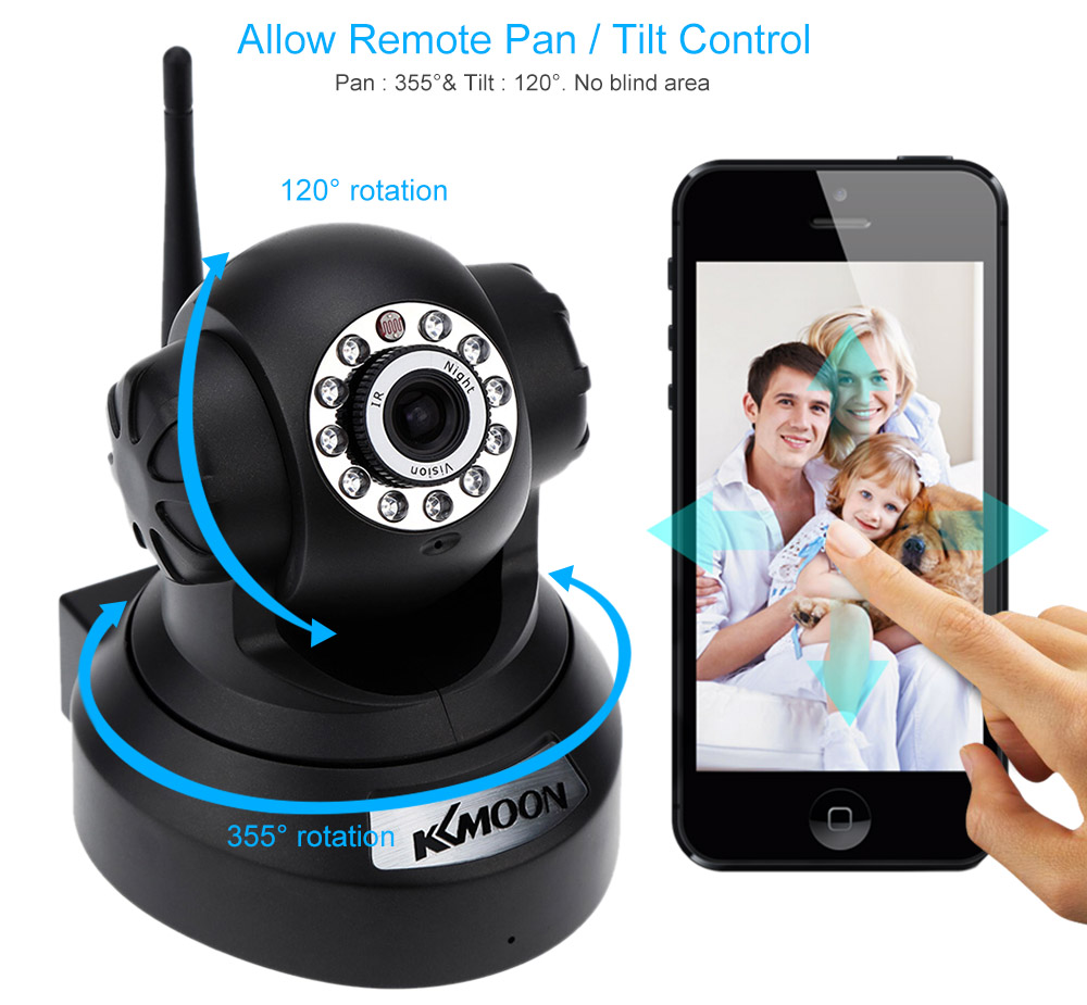 KKMOON 720P HD H.264 1MP IP Camera PnP P2P AP Pan Tilt IR Cut WiFi Wireless Network IP Webcam Surveillance Cameras(China (Mainland))