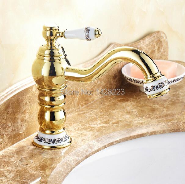 Фотография Golden Deck Mounted Long Swivel Spout Basin Sink Faucet Single Handle Brass Bathroom Vessel Sink Mixer Tap