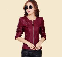 2015 new spring autumn plus size 5XL leather jacket women motorcycle clothing women's short design slim jacket coat(China (Mainland))