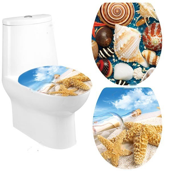 WarmSun Fashionable Adhesive Decorative Removable Sticker Decal for Toilet Lid Toilet Seat Cover - Beach Series HDS-121027(China (Mainland))