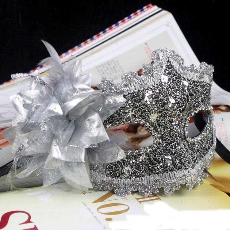 Beautiful Silver Venetian Masquerade Ball Lace Women Men Diamond Flower Mask