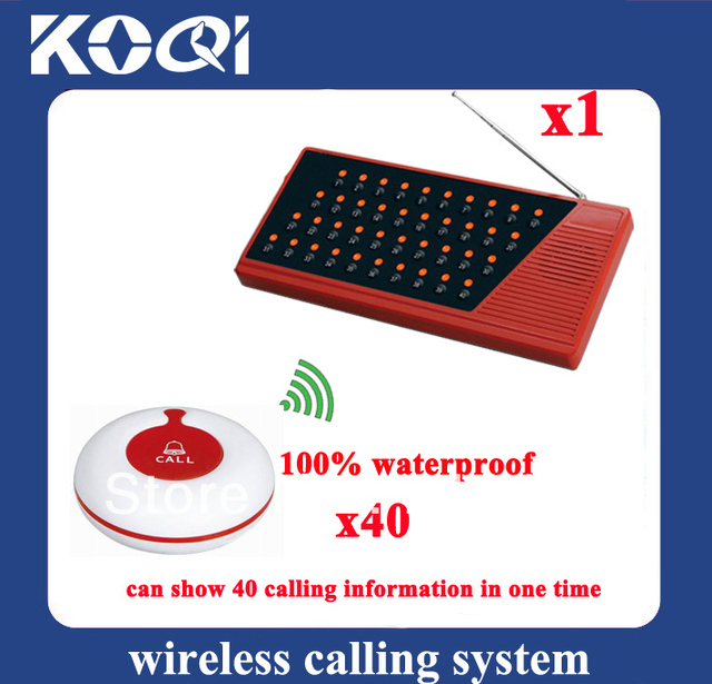 DHL freeshipping Clinic wireless nurse call system 100% waterproof Can show 40 tables in one time of 1pc receiver and 40pcs call