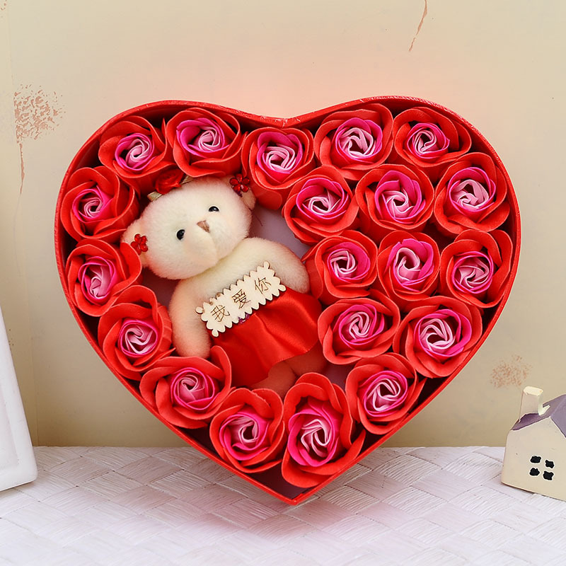 Romantic Heart-shaped Little Bear Rose Soap Flower Gift Box Colours Fragrance Exquisite Artificial Flowers Valentine's Day Gift(China (Mainland))