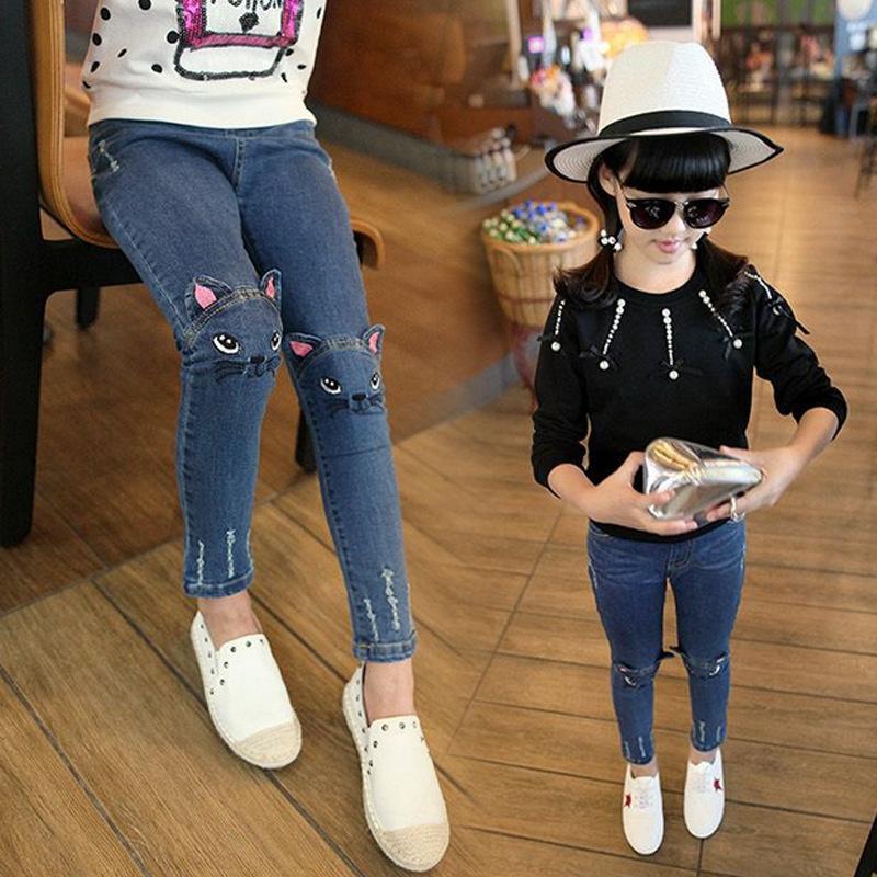 2016 Fashion New Spring Girls Jeans Cartoon Children Skinny Denim Pants Kids Clothes Cool Elastic Waist Trousers(China (Mainland))