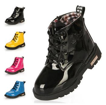 Новый 2015 весна дети PU кожаные мартин сапоги дети мальчики девочки обувь классика лакированной кожи снег сапоги бесплатная доставка 04