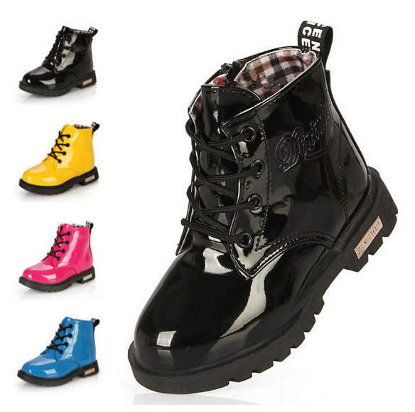 New 2015 Spring Children PU leather Martin boots Kids Boys Girls shoes Classic Patent leather Snow