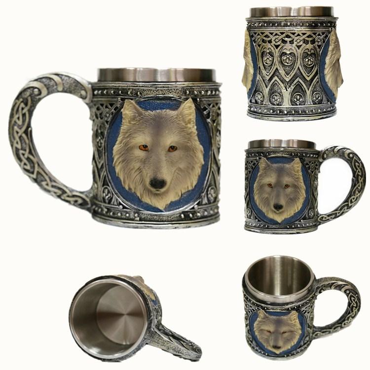 450ML Animal Cartoon Wolf King Drinking Mug 3D Wolf Pattern Retro Resin Stainless Steel Lining Coffee Tea Wine Cup Mugs Gift(China (Mainland))