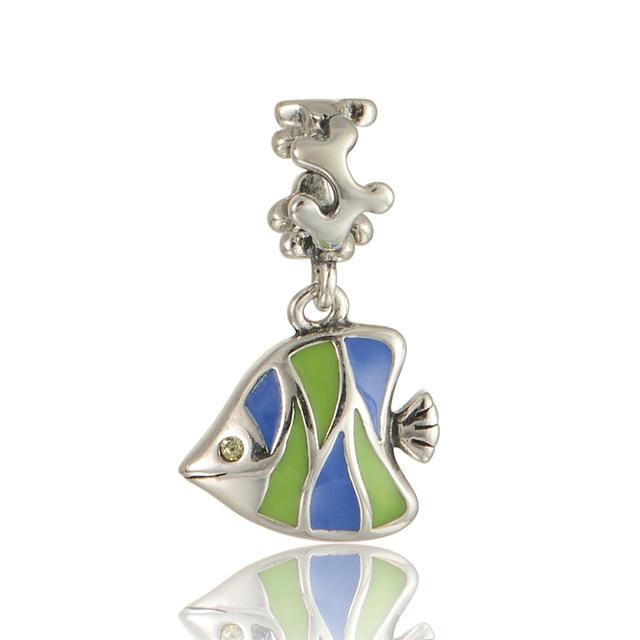 100% 925 - серебристо-ювелирные бусины эмаль рыба животных Fit Chamilia пандора браслеты серебро 925 DIY