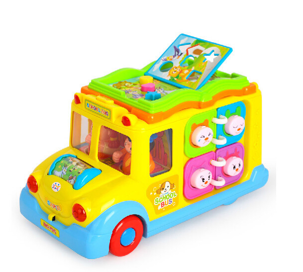 Free shipping baby toys Electric school bus/ children music car/ early educational toys gift for kids(China (Mainland))
