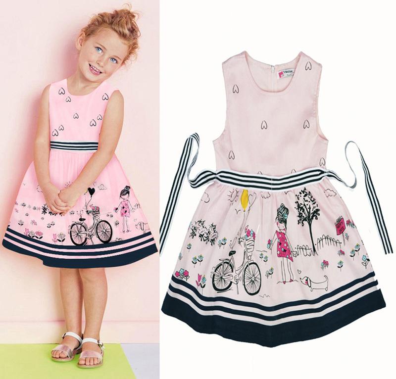 2016 Summer Girl Dress cartoon bicycle pattern Girls  Kids Princess dress Brand sleeveless Party Dresses children clothing Girls<br><br>Aliexpress