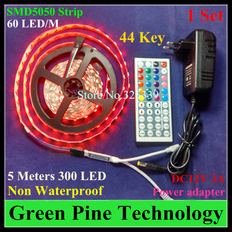 1 set SMD 5050 60 LED / M 5M RGB Strip light tape lighting Non Waterproof strip + 44 key Remote 3A Power Adapter - Stareyes Green Pine Store store