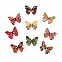 Buy 50Pcs Decorative Wood Sewing Button Scrapbooking Butterfly Random 2 Holes Pattern 28*20mm 2017 New for $1.49 in AliExpress store