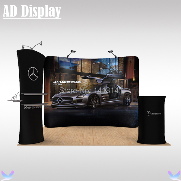 3m*3m Portable Exhibition Banner Stand With Full Color Heat Transfer Printing,Tradeshow Booth Advertising Tension Fabric Display(China (Mainland))