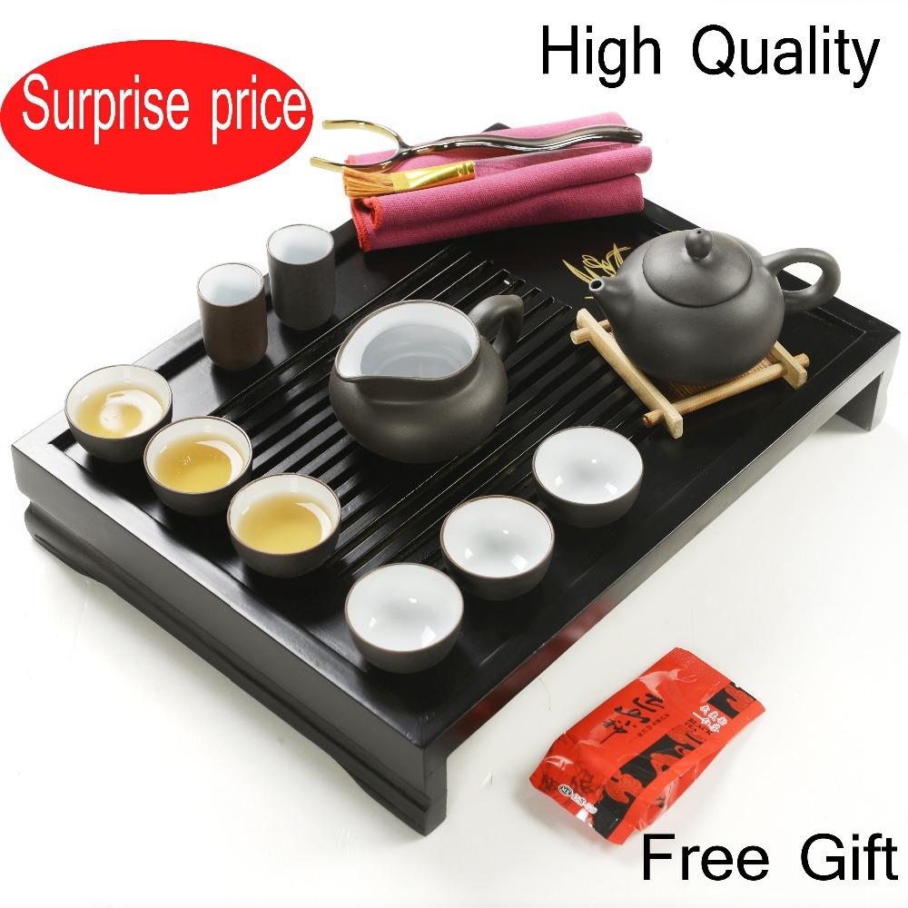 Free Shipping Chinese Kung Fu Porcelain tea set,Yixing Puple Clay Teapot,Solid Wood Tea Tray,Tea Kettle Wholesale,Free black tea(China (Mainland))
