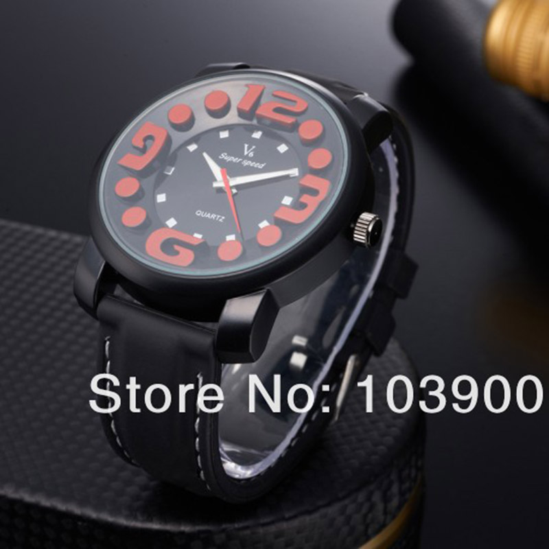 V6 Free shipping fashion black leather watch for men with big  numerals indicate time and   round shaped dial wrist watch<br><br>Aliexpress