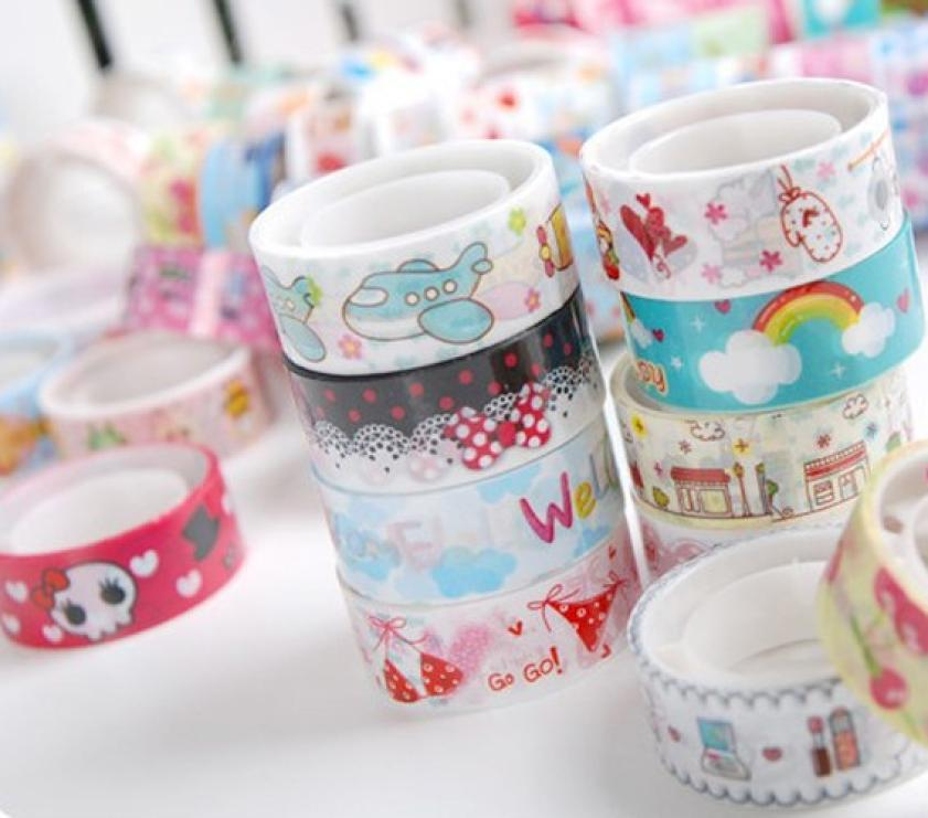 Stylish 10pcs/set Cute Mixed Colors Roll DIY Hobby Decorative Sticky Crafting Scrap box packed paper adhesive masking tape baby(China (Mainland))