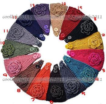 Free shipping 10 pcs/Lot Adult Women peal Knit Hairband Head Wrap Headband Crochet Hair Band Warmer