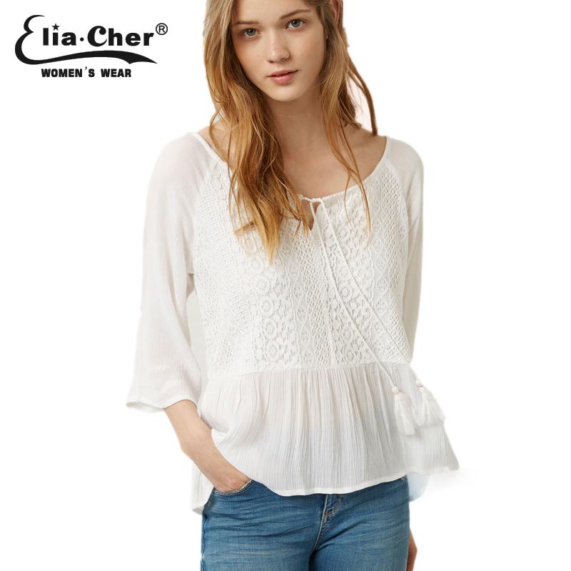 Summer style chiffon women lace blouses 2015 causal plus size women clothing chic elegant fashion white crochet women shirts top(China (Mainland))