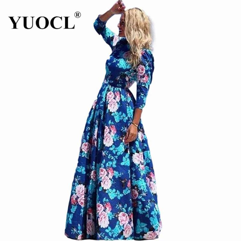 YUOCL Hot Sale vestidos 2016 New Fashion Women Summer Dress Print Long Maxi Dresses Beach Dress Long Sleeve Bohemian Dress(China (Mainland))