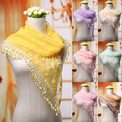 2015 New Women's Soft Wrap Shawl Lace Chiffon Scarf Long Voile Stole Scarves 6 Color Tassels Embroidered Scarves(China (Mainland))