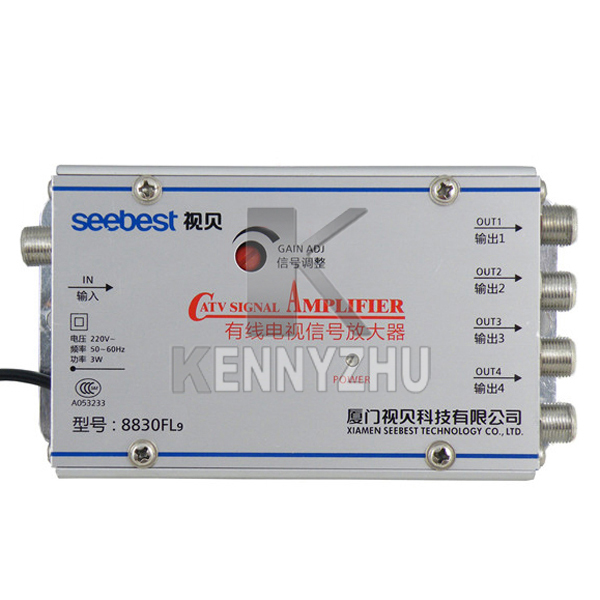1 in 4 SB-8830FL9 CATV Amplifier 30db Adjustable Gain Cable TV Signal Amplifier Free Shipping(China (Mainland))