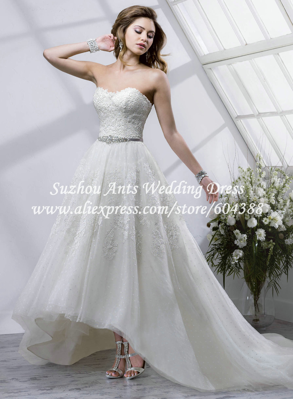 New Design Off The Shoulder High Low Wedding Dress