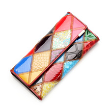 2015 New Women's Wallets Cowhide Genuine Leather Bag For Women Famous Brand Wallet Plaid Shape Hot Women Purse Free Shipping