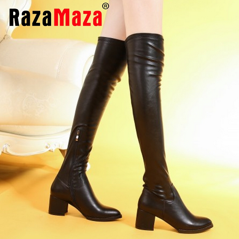 Фотография women real genuine leather high heel over knee boots fashion long boot winter botas brand footwear heels shoes R7619 size 34-39