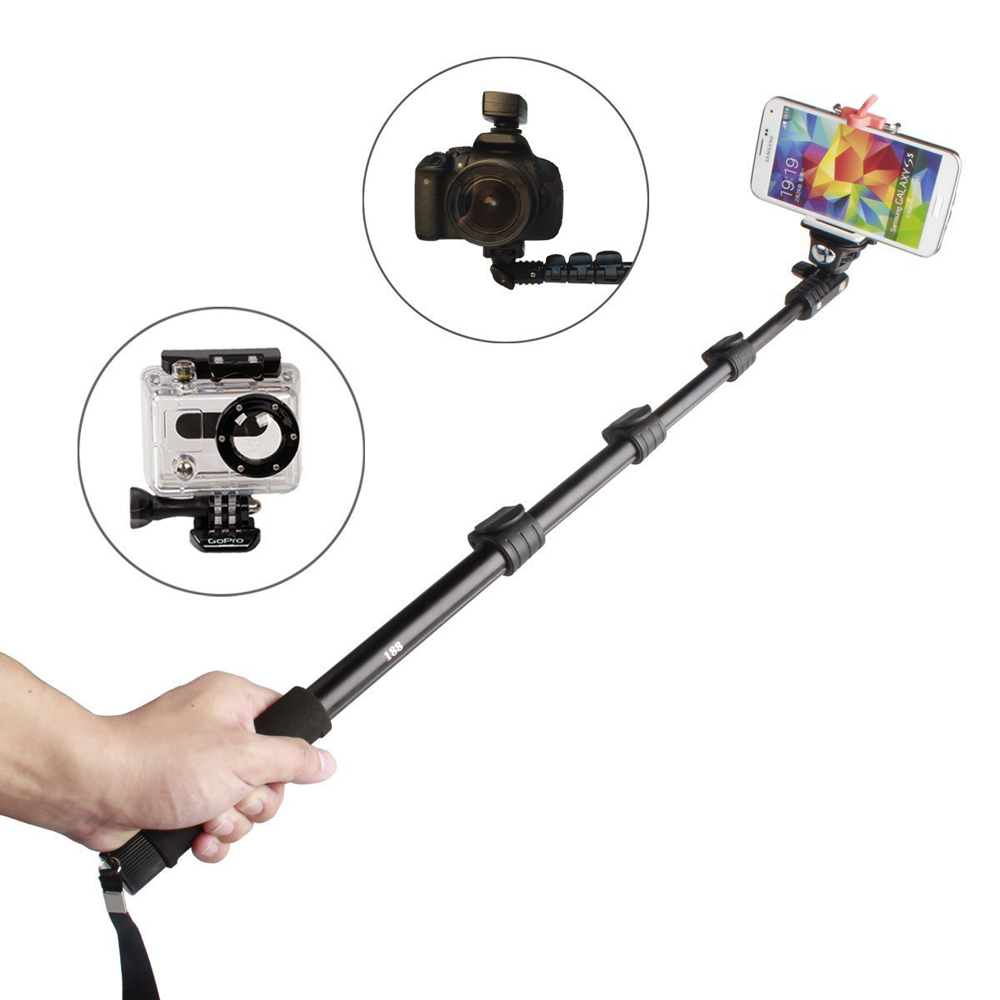 handheld monopod selfie stick pole with bluetooth remote shutter button for iphone smartphone. Black Bedroom Furniture Sets. Home Design Ideas