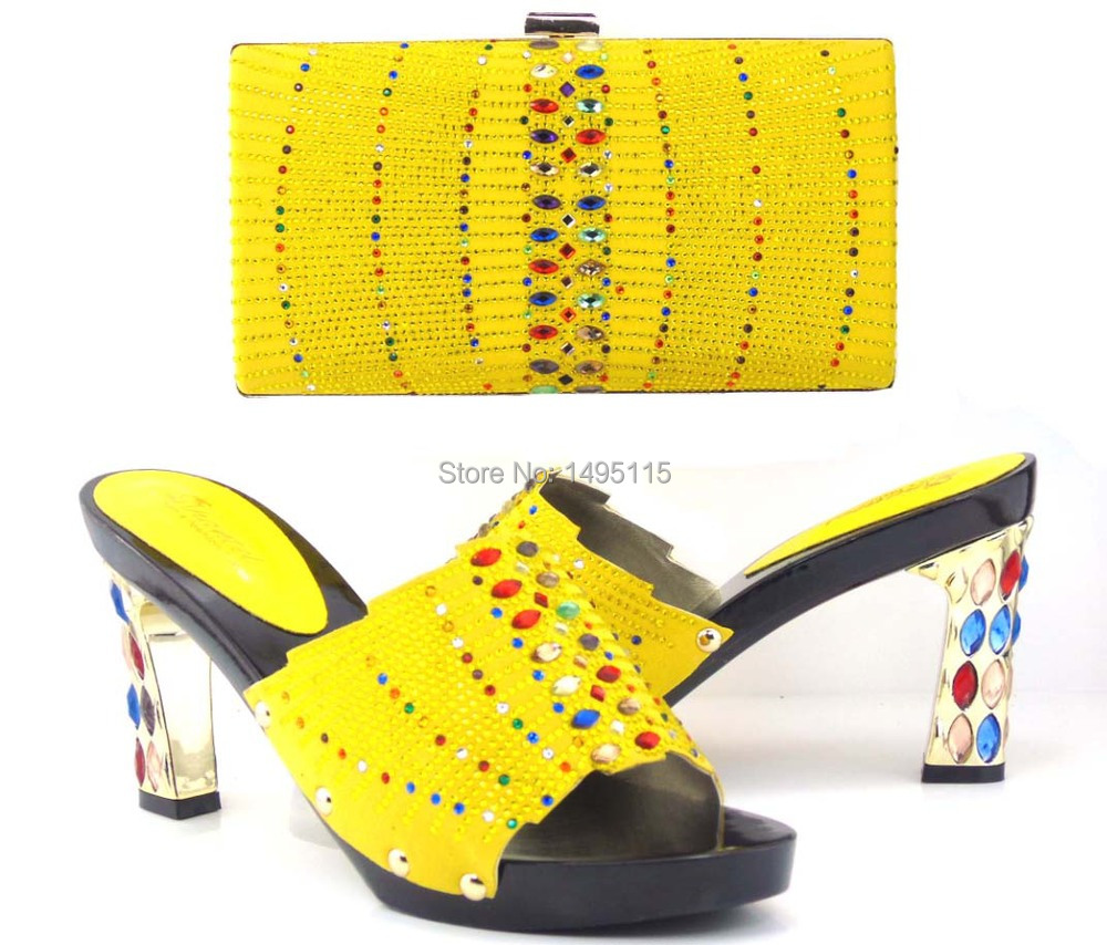 Free shipping New arrival african shoes and matching bag set with rhinestones italian ladies high heels pumps!!MQ1-11