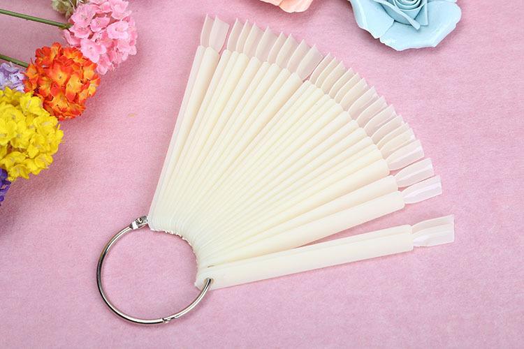 Hot !2Sets 50pcs/set Natural /Clear Plastic Stick Display Practice Fan Board Nail Art DisplayColor Chart (50)-Natural(China (Mainland))