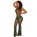 2016 Summer Halter Mesh Jumpsuit For Women Backless Rompers Bodycon Bodysuit Sexy One Piece Overalls Geometric