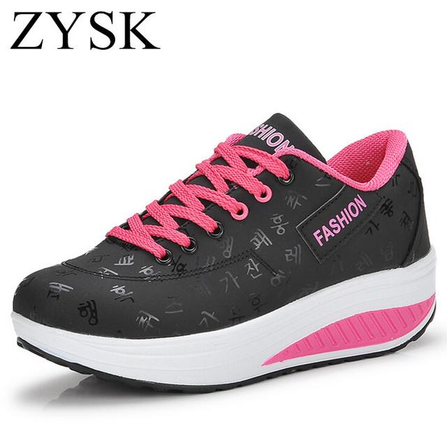 [ Ushoes ] 2016 Похудение ботинки женщин вскользь ботинок кожи способа женщин Фитнес ...